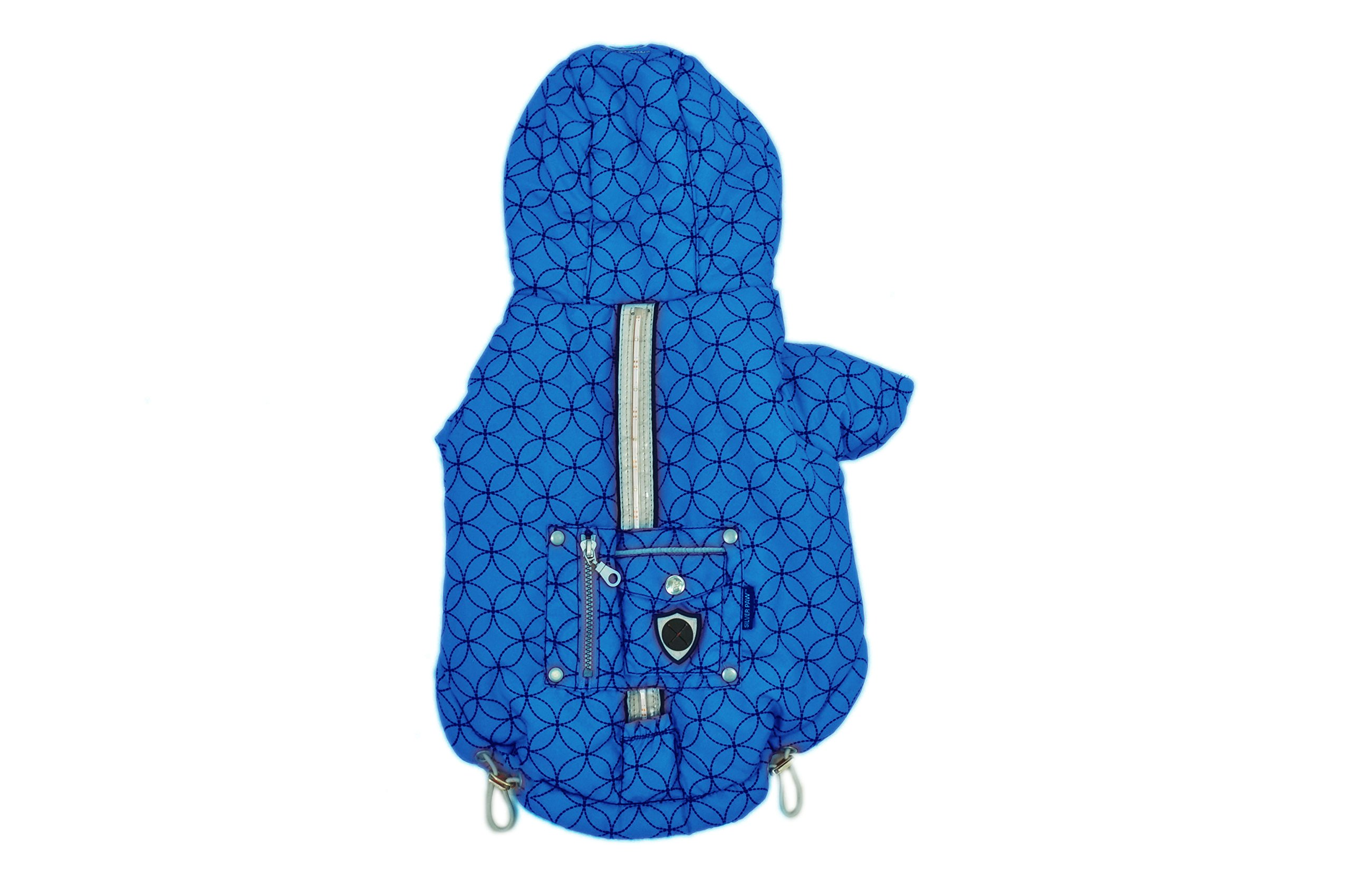 Silver Paw Urban Puffy Dog Jacket with Hood, Dazzling Blue, Small