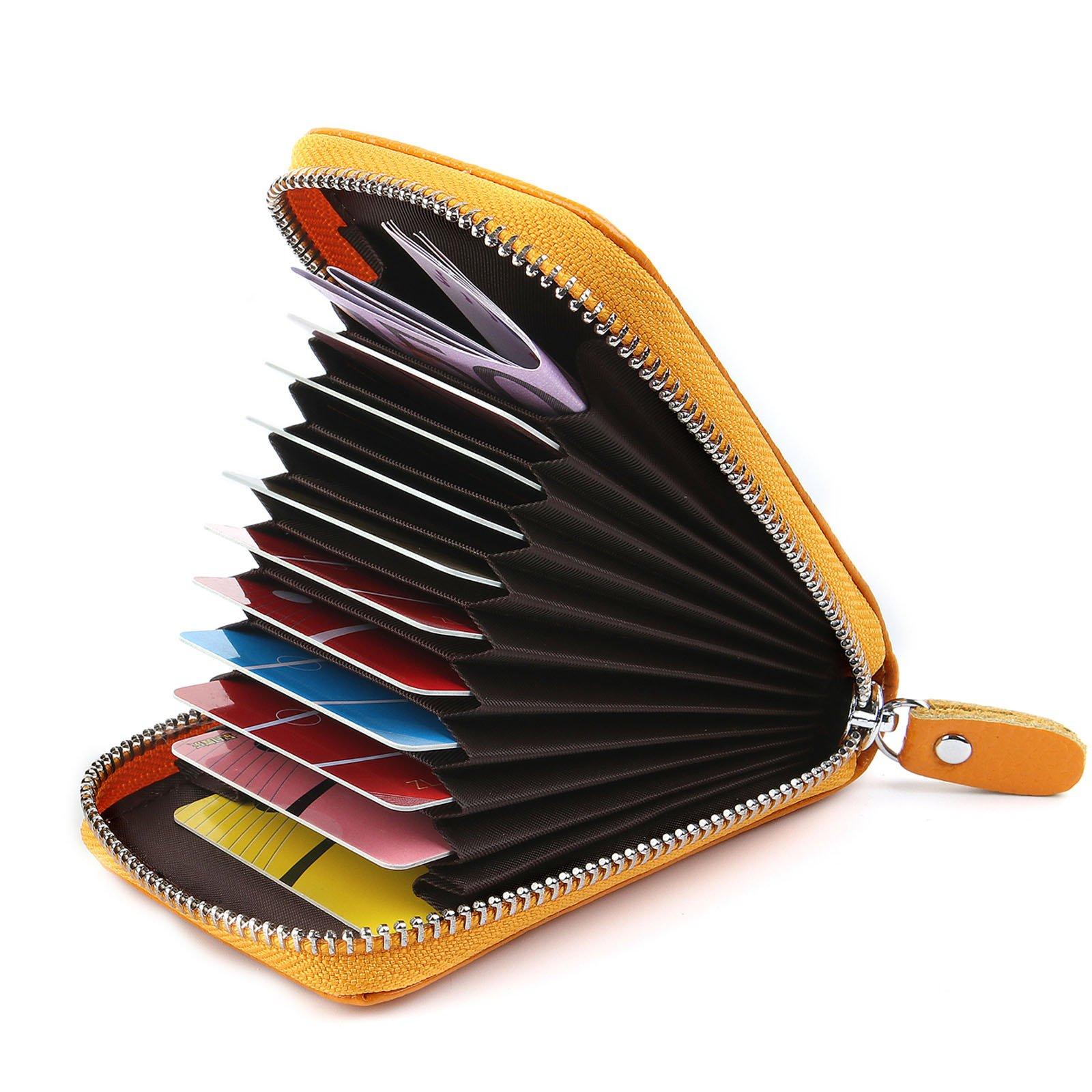 16e78b43b6 AirZyx Porta Carte di Credito Donne Uomo Pelle Portafoglio Donne Pelle  Cerniera (Giallo) product