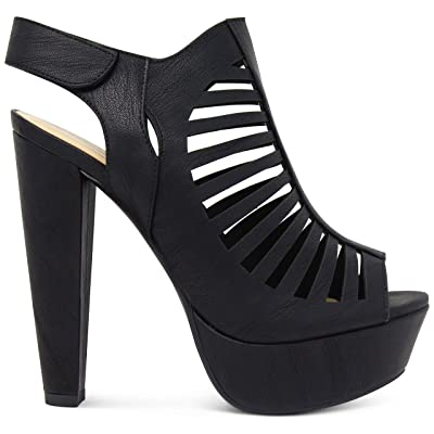 MARCOREPUBLIC Milan Peep Toe Slingback Ankle Strap Cut Out Platform Chunky Stacked Heels Sandals Pumps | Heeled Sandals