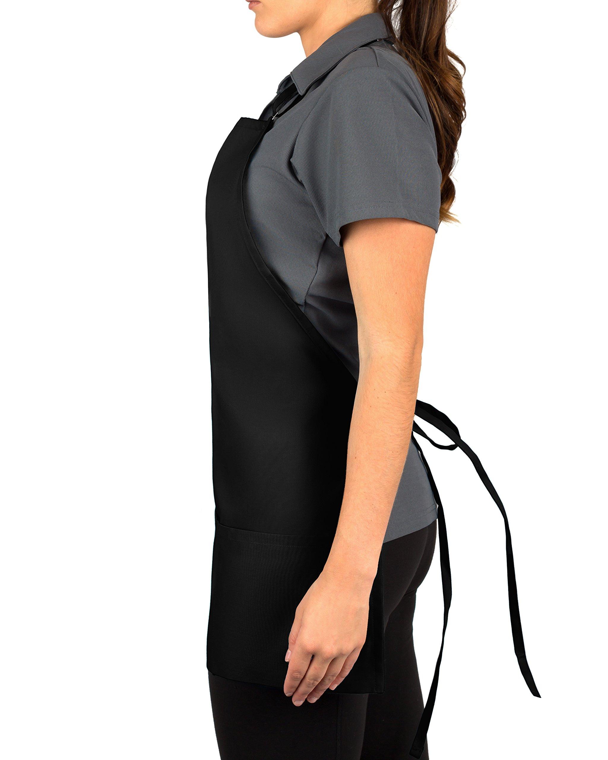 KNG Pack Of 2 - Black Adjustable Bib Apron - 3 Pocket by KNG (Image #3)