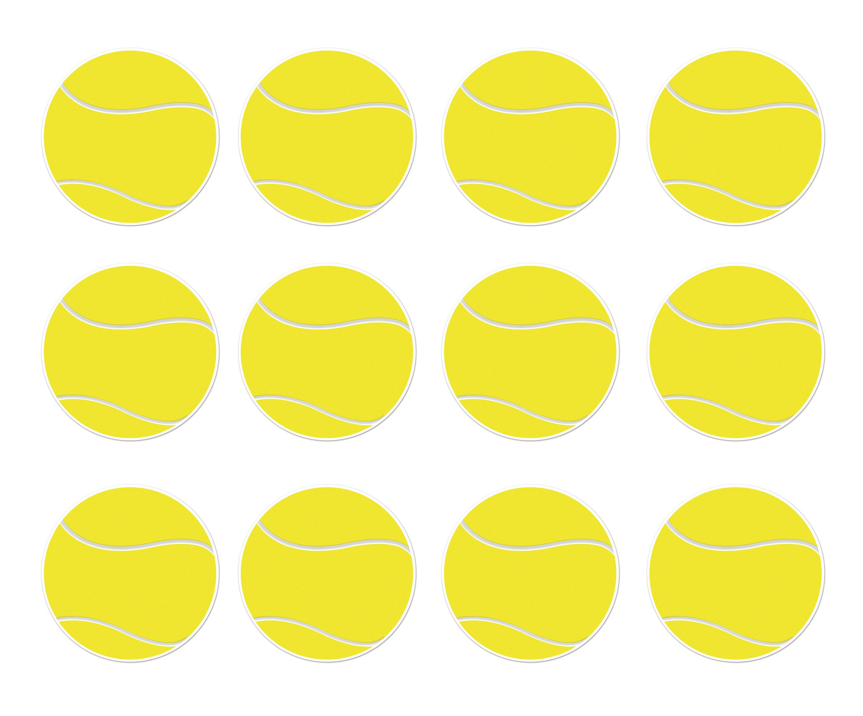 Beistle S54742AZ12, 12 Piece Tennis Ball Cutouts, 10'' (Yellow/White) by Beistle
