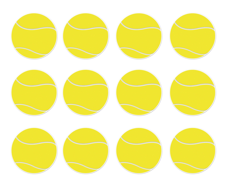 Beistle S54742AZ12, 12 Piece Tennis Ball Cutouts, 10'' (Yellow/White)