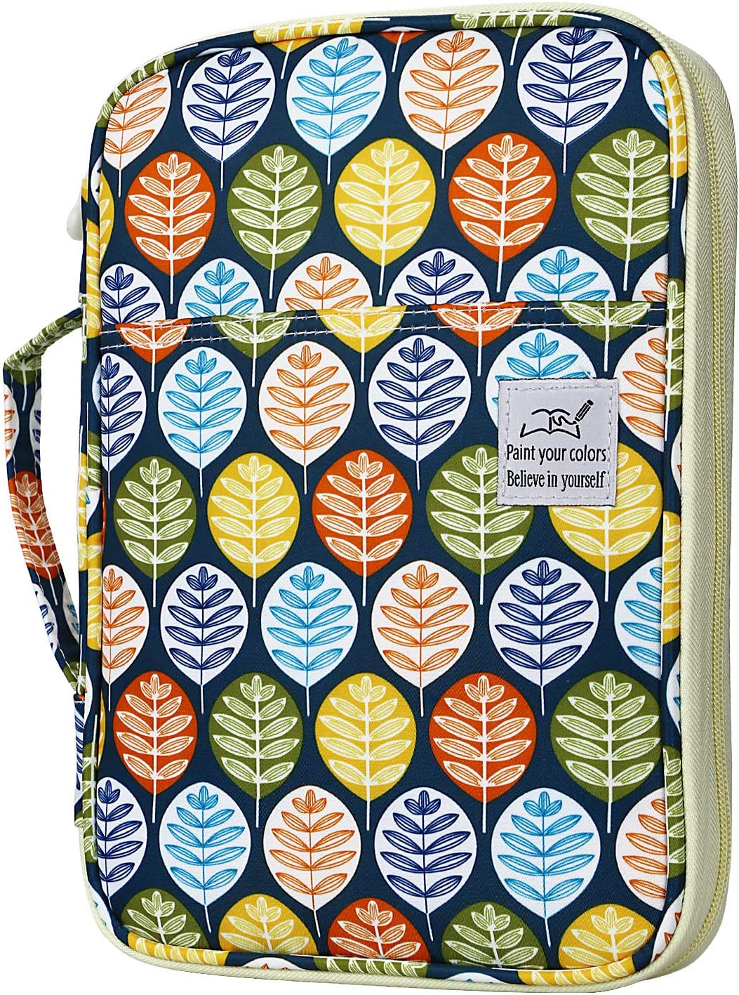 YOUSHARES 96 Slots Colored Pencil Case, Large Capacity Pencil Holder Pen Organizer Bag with Zipper for Prismacolor Watercolor Coloring Pencils, Gel Pens for Student & Artist (Colorful Leaves)