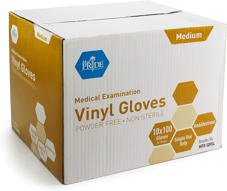 Medium MedPride General Purpose Powder-Free Vinyl Gloves Bag//100