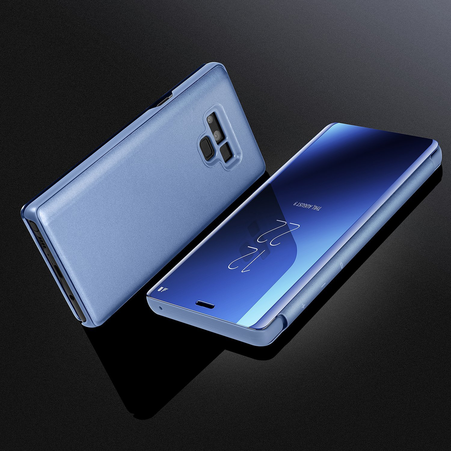 Galaxy Note 9 Case,WATACH Smart Clear View Makeup Mirror Electroplate Plating Kickstand Feature Full Body Protective Flip Folio Cover for Galaxy Note 9 (Blue) by WATACHE (Image #7)