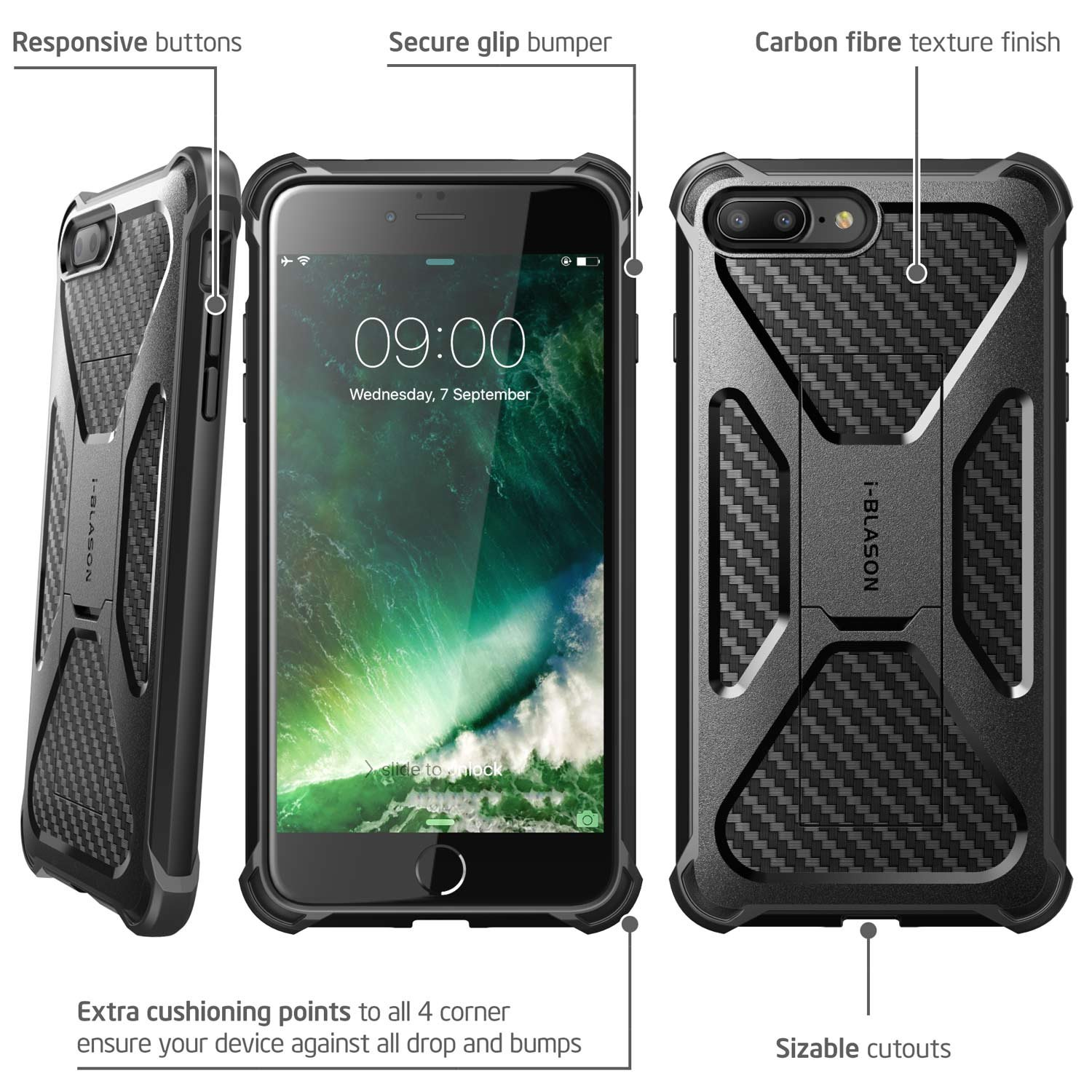 iPhone 8 Plus Case, i-Blason Transformer [Kickstand] Apple iPhone 8 Plus 2017 [Heavy Duty] [Dual Layer] Combo Holster Cover case with [Locking Belt Swivel Clip] (Compatible with iPhone 7 Plus)(Black) by i-Blason (Image #2)