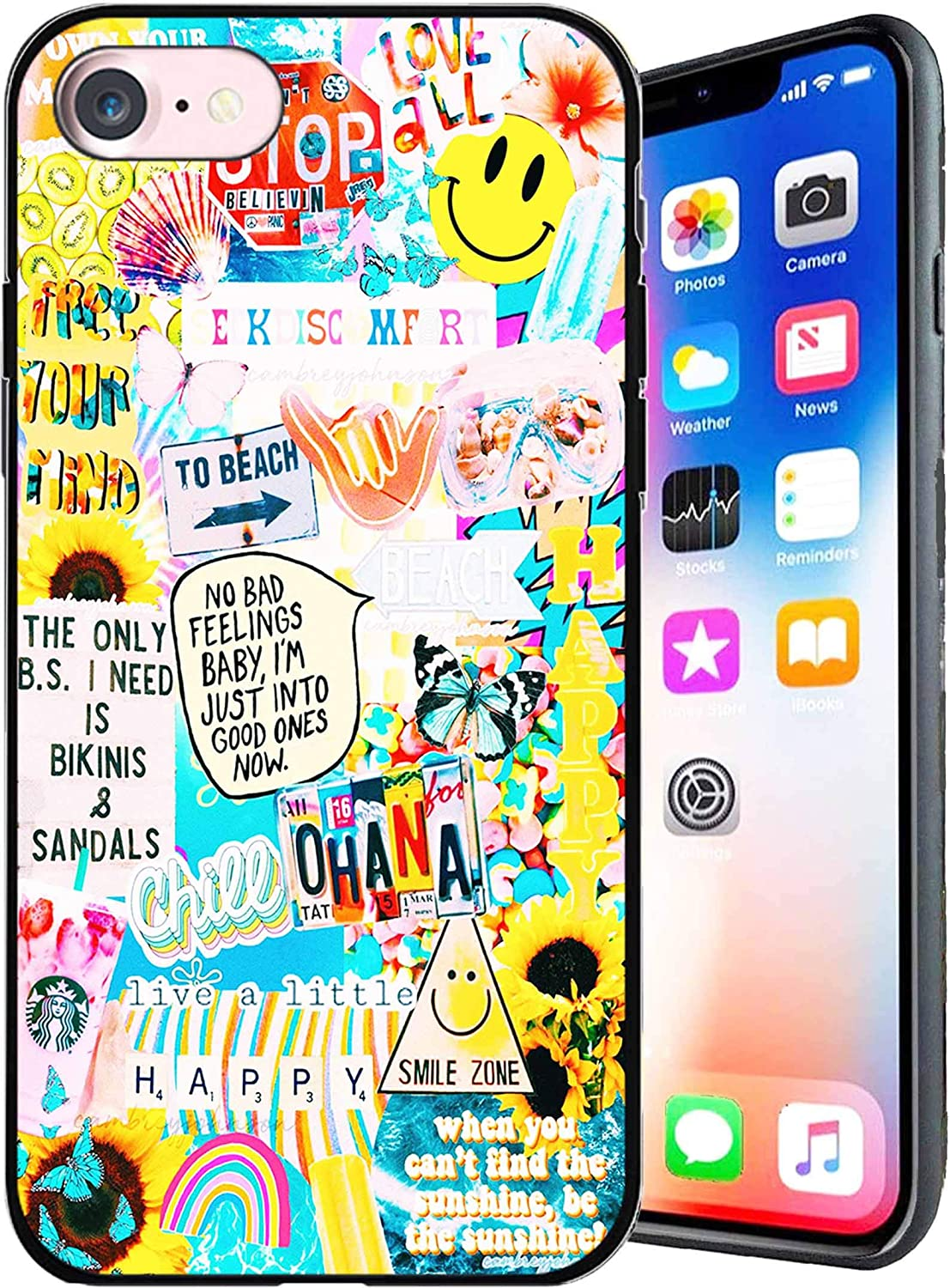 Designed for iPhone 7/8/SE 2020 Case Stickers Smiling Face Design Anti-Scratch Shockproof Case Unfading Coloring Premium TPU Slim Fit Soft Cover Compatible with iPhone 7/8/SE 2020 4.7 inch (Stickers)