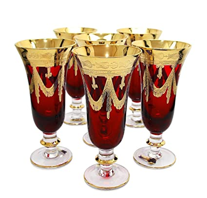 db165305b7f3 Amazon.com   Interglass Italy Set of 6 Crystal Glasses, 24K Gold ...