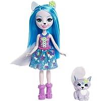 Enchantimals Mini-poupée Winsley Loup et Figurine Animale Trooper, aux cheveux bleus avec jupe à motifs en tissu, jouet enfant, FRH40