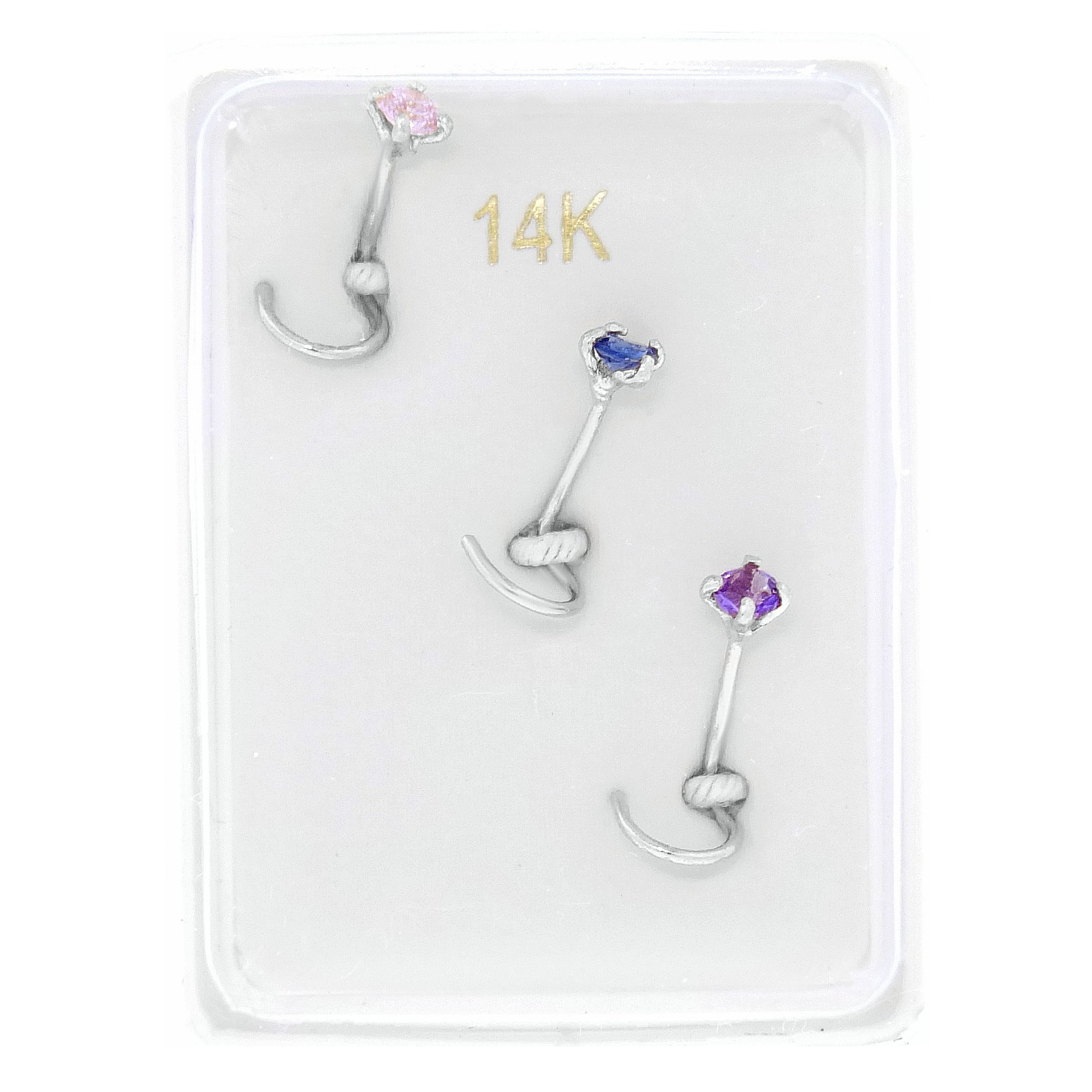 14K White Gold 2mm Created Pink Blue Purple Sapphire Nose Ring Set