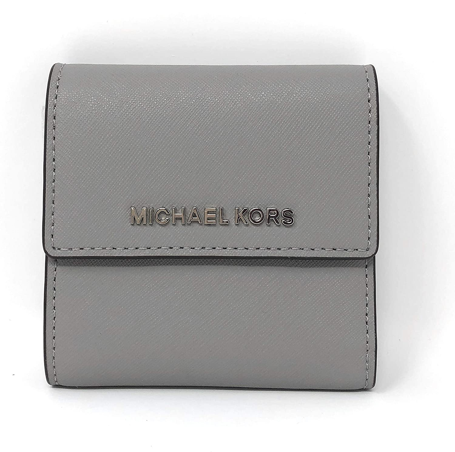 42a45f17a9d3 Amazon.com  Michael Kors Jet Set Travel Small Card Case Trifold Carryall Leather  Wallet (Ash Grey)  Shoes