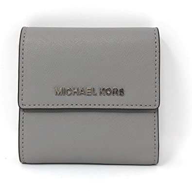 34c76678bb62 Michael Kors Jet Set Travel Small Card Case Trifold Carryall Leather Wallet  (Ash Grey)