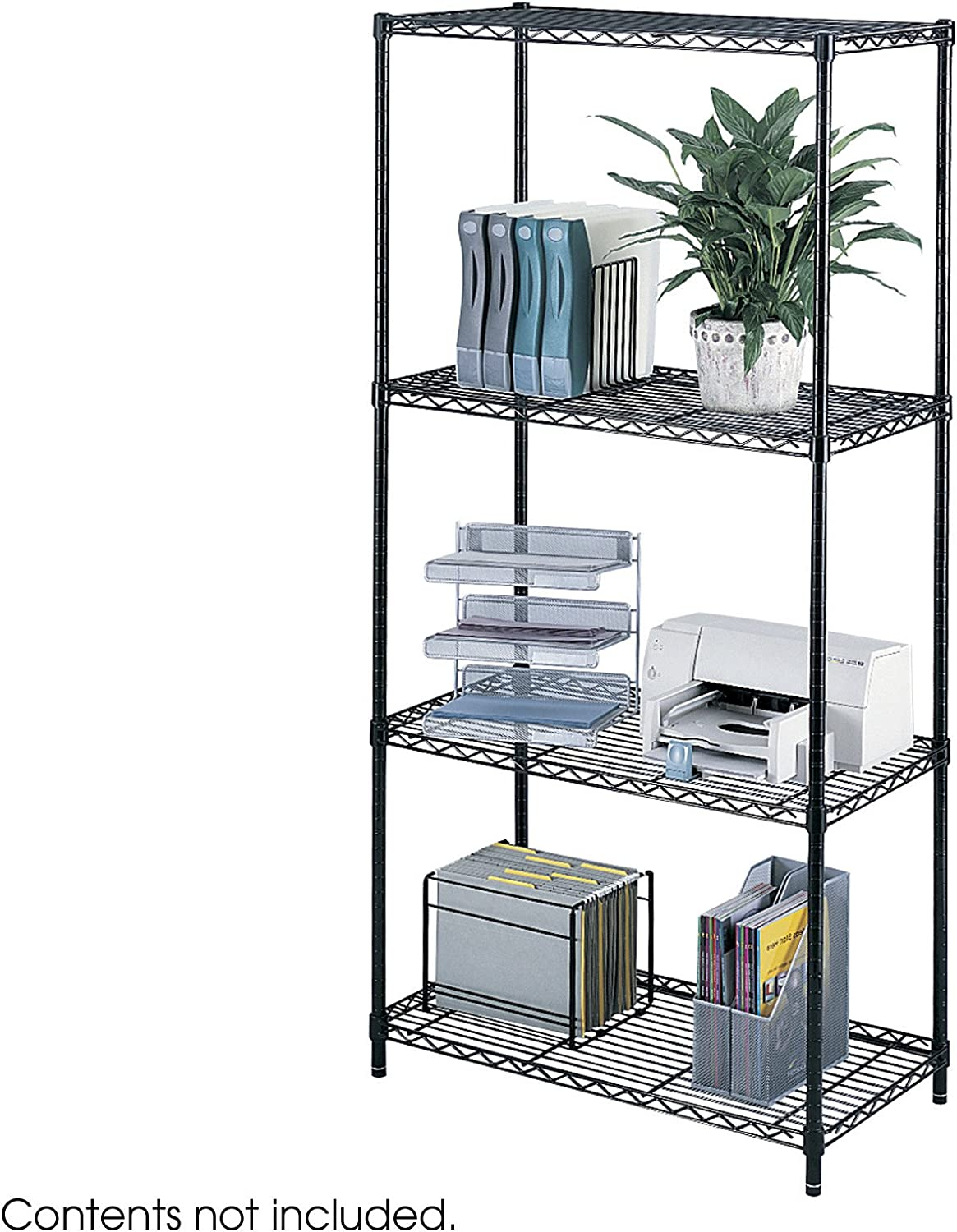 "B000078CV7 Safco Products Industrial Wire Shelving Starter Unit 36""W x 18""D x 72""H (Add-On Unit and Extra Shelf Pack sold separately), Black 81R40EqsT1L.SL1500_"