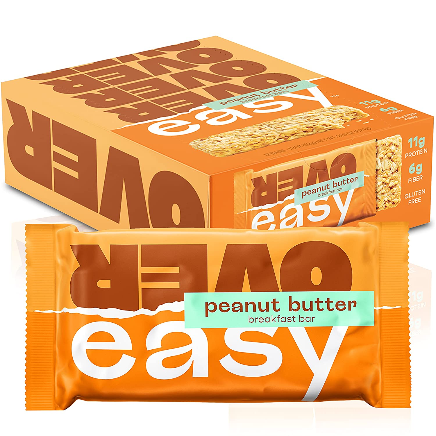 OVER EASY Peanut Butter Breakfast Bars | All Natural, Clean Ingredient, 10g Protein & 6g Fiber Breakfast Bars (Peanut Butter) | Gluten Free, Dairy Free, Soy Free