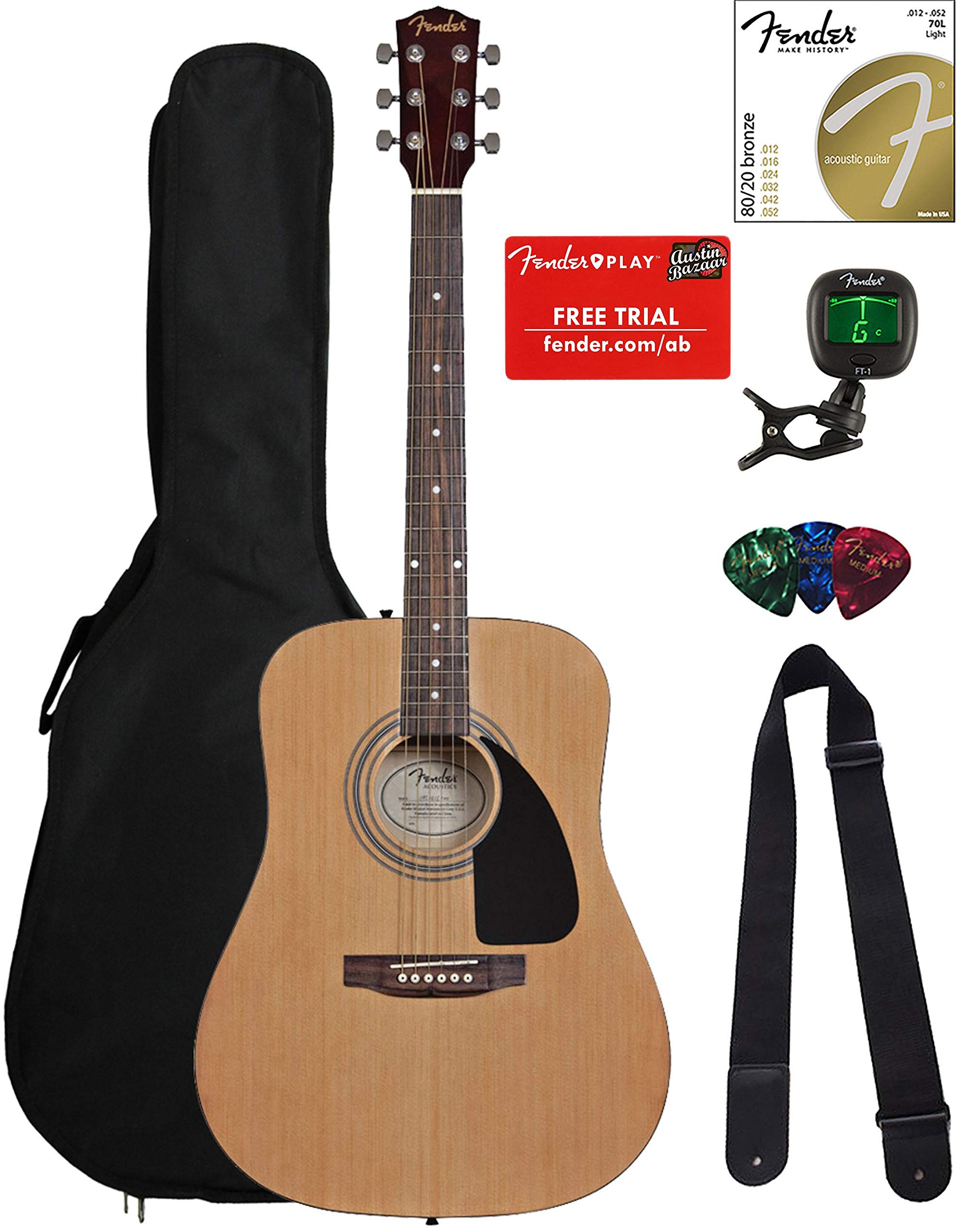 Fender FA-100 Dreadnought Acoustic Guitar - Natural Bundle with Gig Bag, Tuner, Strings, Strap, and Picks by Fender