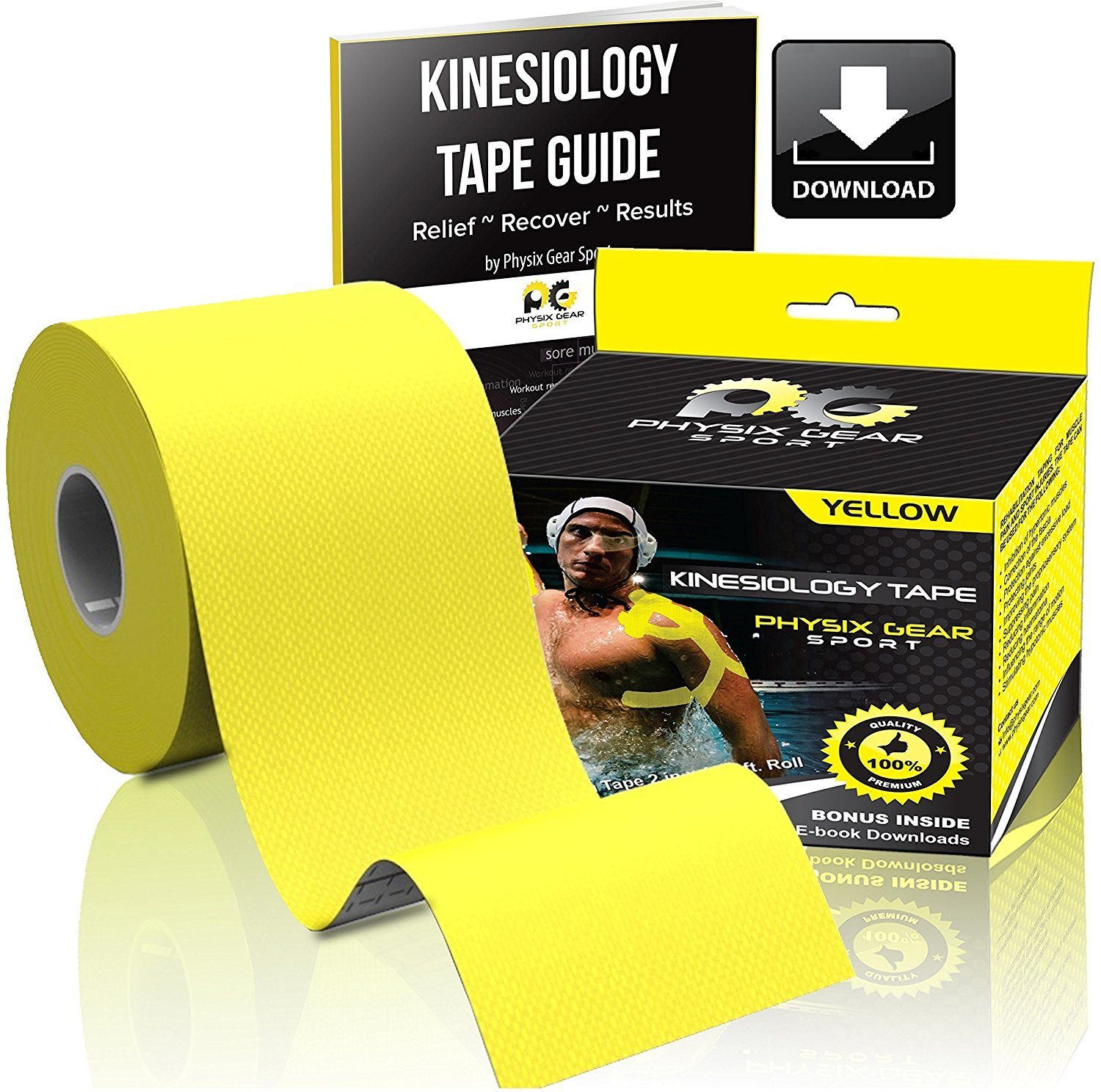 Physix Gear Sport Kinesiology Tape - Free Illustrated E-Guide - 16ft Uncut Roll - Best Pain Relief Adhesive for Muscles, Shin Splints Knee & Shoulder - 24/7 Waterproof Therapeutic Aid (1PK YEL) by Physix Gear Sport (Image #2)