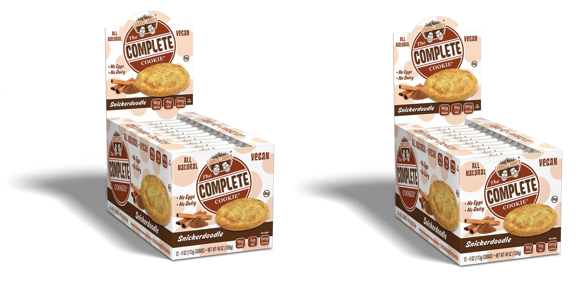 Lenny & Larry's The Complete Cookie, Soft baked Snickerdoodle, 16g Plant Protein, 4oz cookie, 24 count by Lenny & Larry's