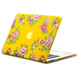 """Kuzy Vintage Flowers Rubberized Hard Case for MacBook Air 13.3"""" (A1466 & A1369) - Yellow"""
