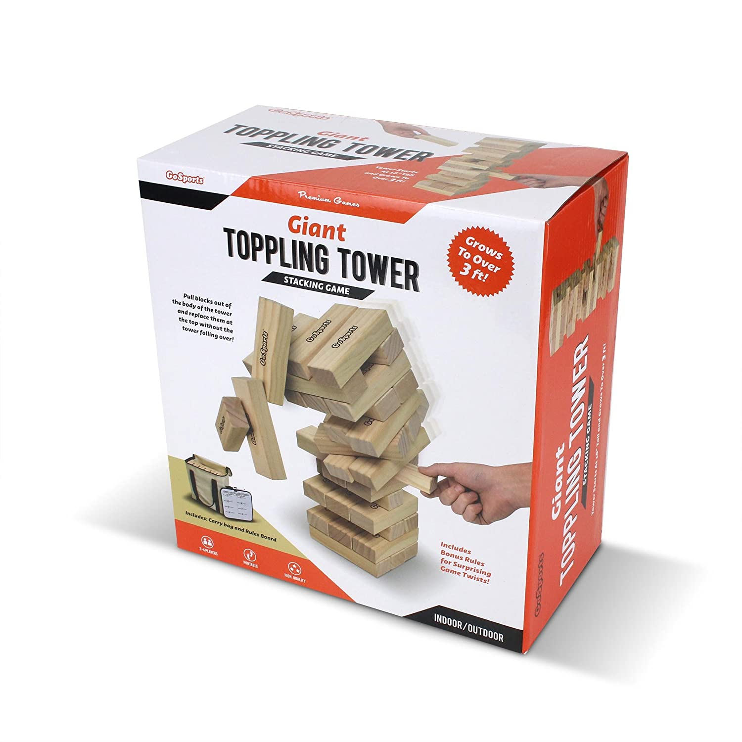 Made from Premium Pine Blocks Starts at 1.5 and Grows to Over 3 GoSports Large Toppling Tower with Bonus Rules
