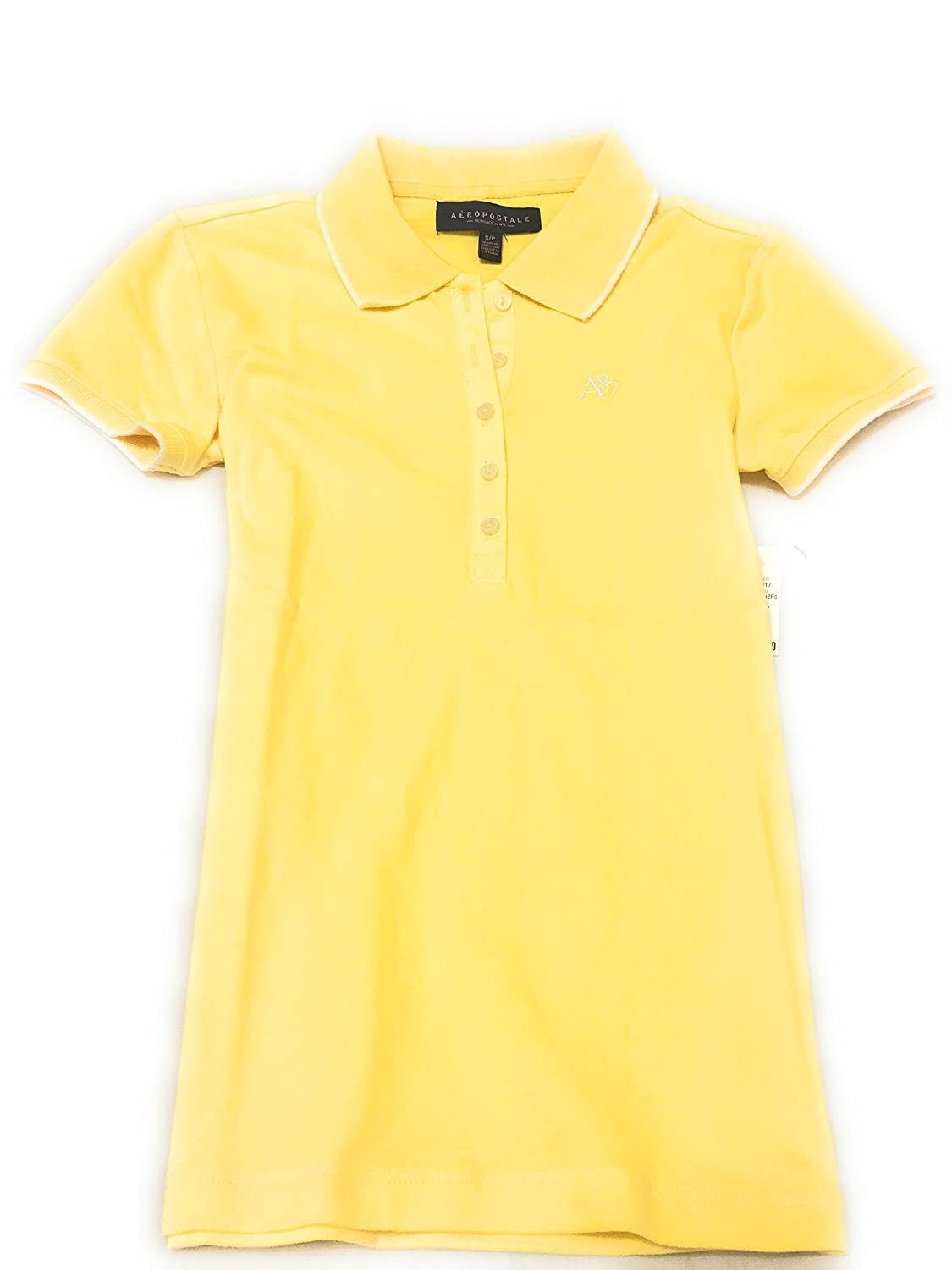 Aeropostale Women's Line Tipped Polo Shirt With A87 Logo Style 9412