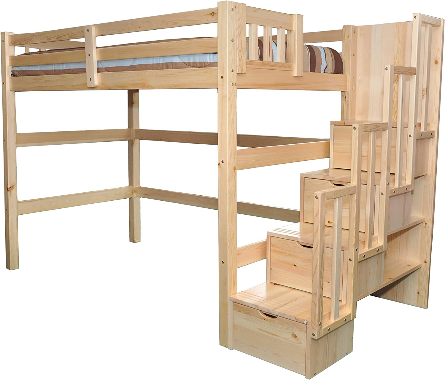 Amazon Com Scanica Stairway Full Loft Bed With Storage Natural Furniture Decor