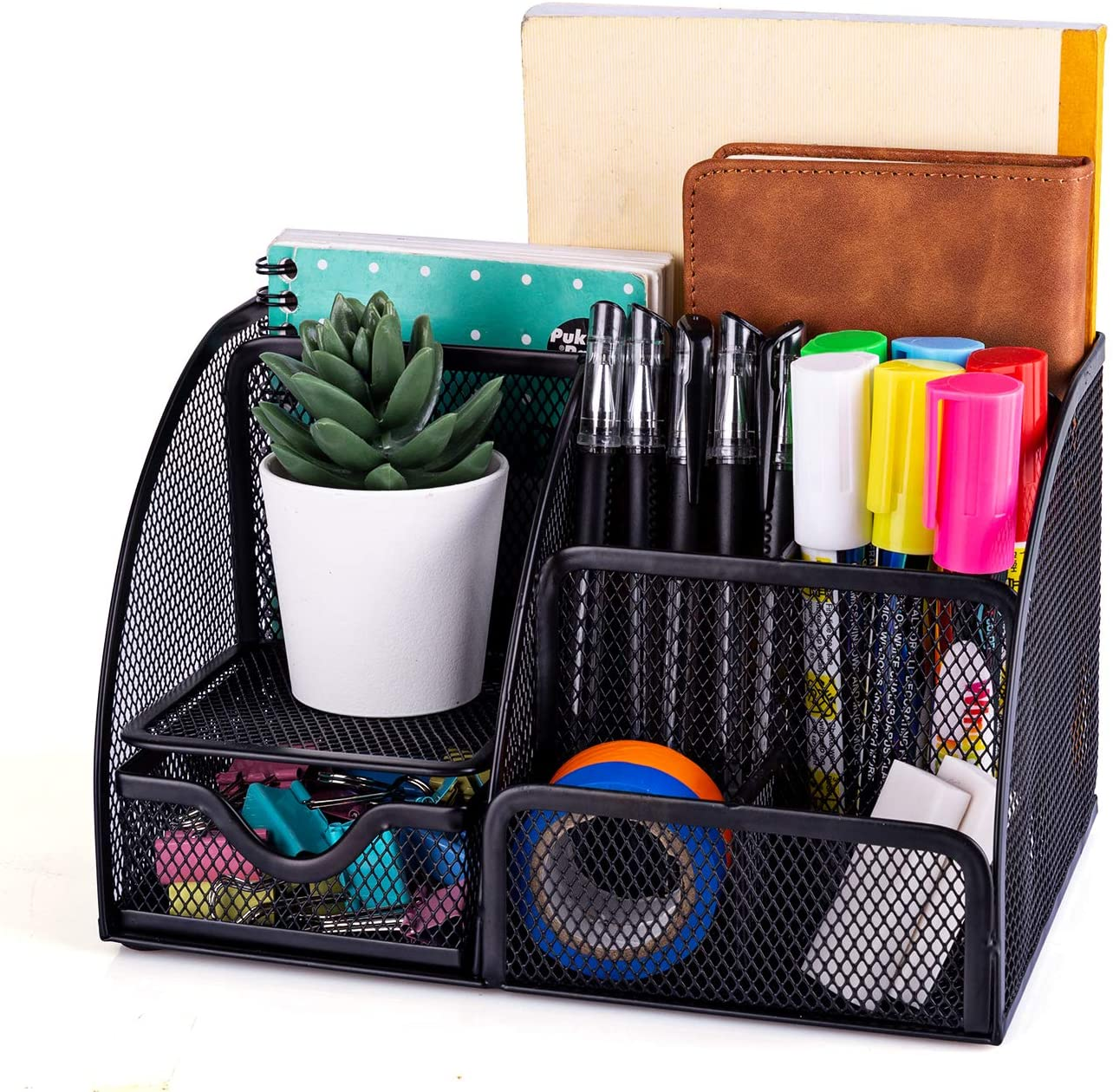 Amazon Com Mdhand Office Desk Organizer And Accessories Mesh Desk Organizer With 6 Compartments Drawer Home Improvement