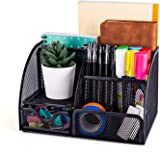 MDHAND Office Desk Organizer and Accessories, Mesh Desk Organizer with 6 Compartments + Drawer