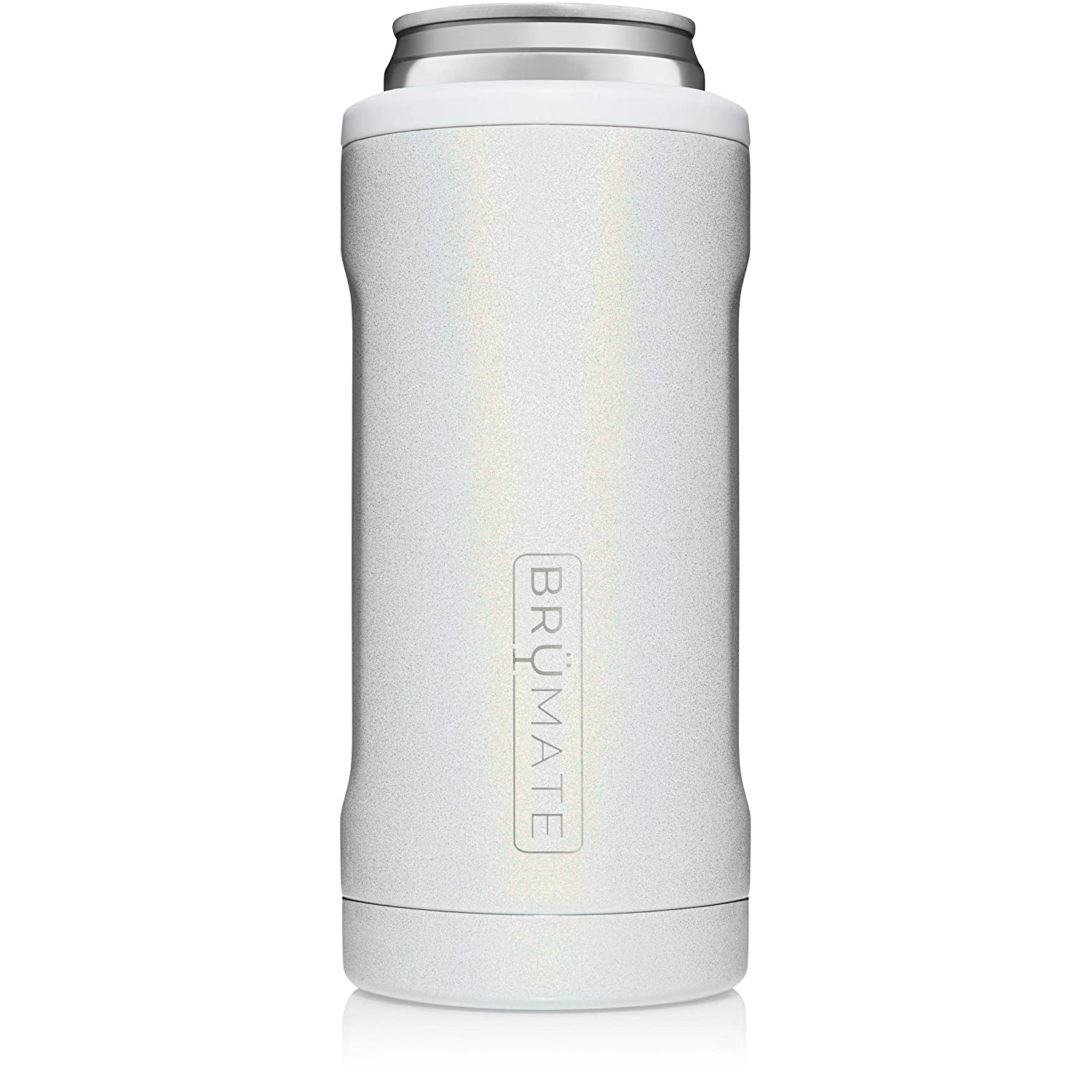 BrüMate Hopsulator Slim Double-walled Stainless Steel Insulated Can Cooler for 12 Oz Slim Cans (Glitter White)