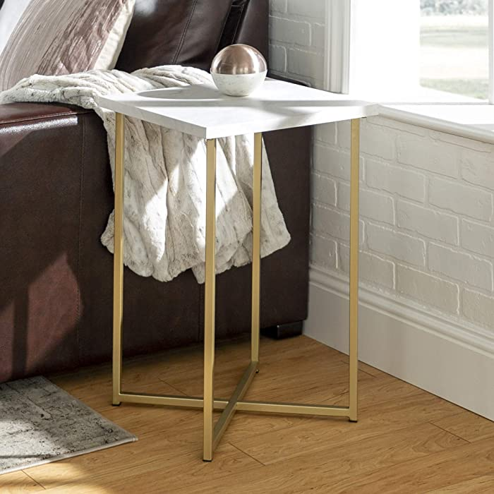 """WE Furniture AZF16LUXWMG Side Table 16"""" Faux White Marble/Gold"""