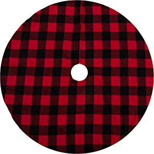 """Joiedomi 48"""" Baffalo Check Tree Skirt (Red and Black), Buffalo Plaid Christmas Tree Skirt - Black and Red Checked Tree Skirts Mat for Holiday Christmas Party Decorations"""
