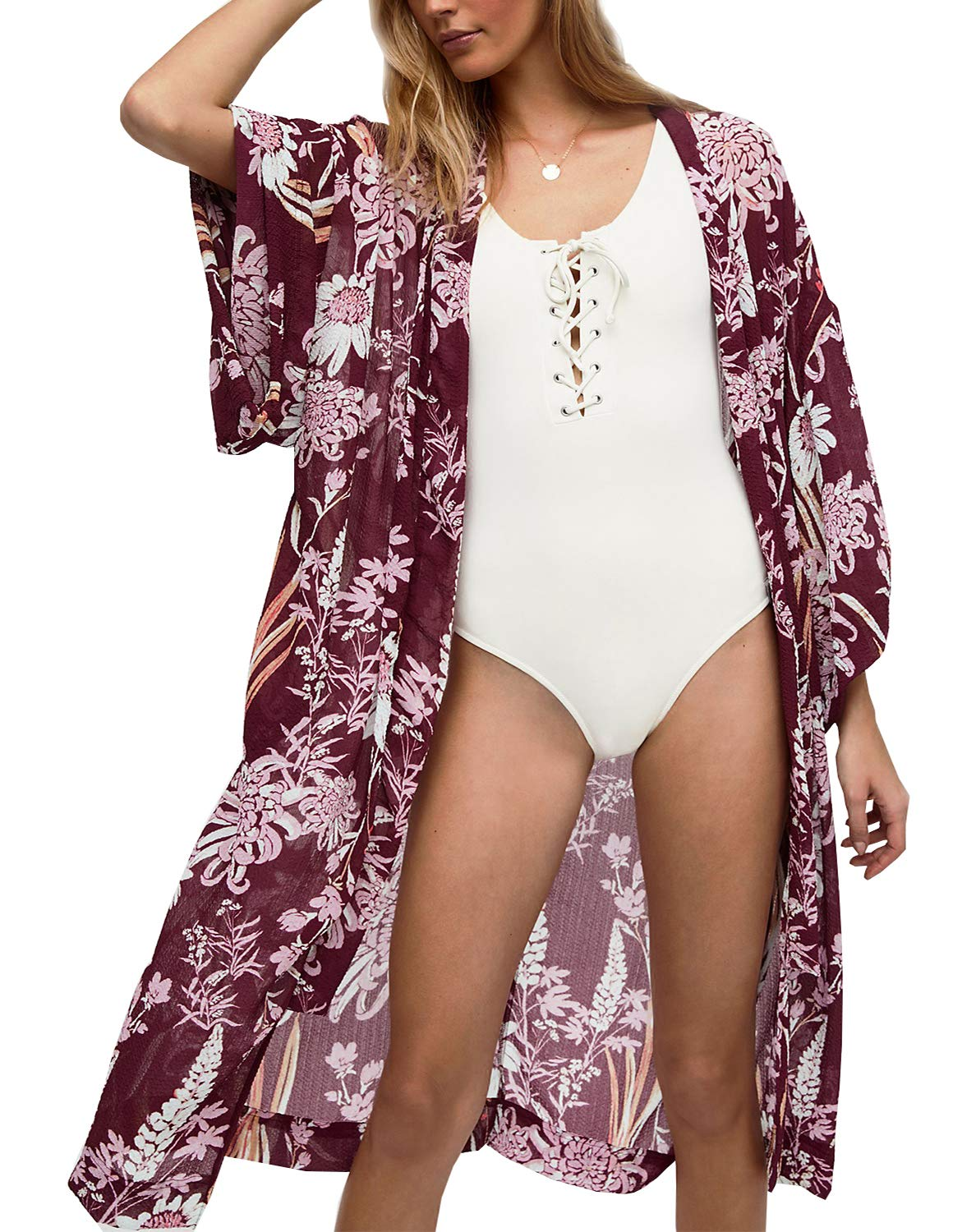 ChainJoy Womens 3/4 Long Sleeve Floral Print Casual Kimono Robe Cardigan Swimsuit Cover up