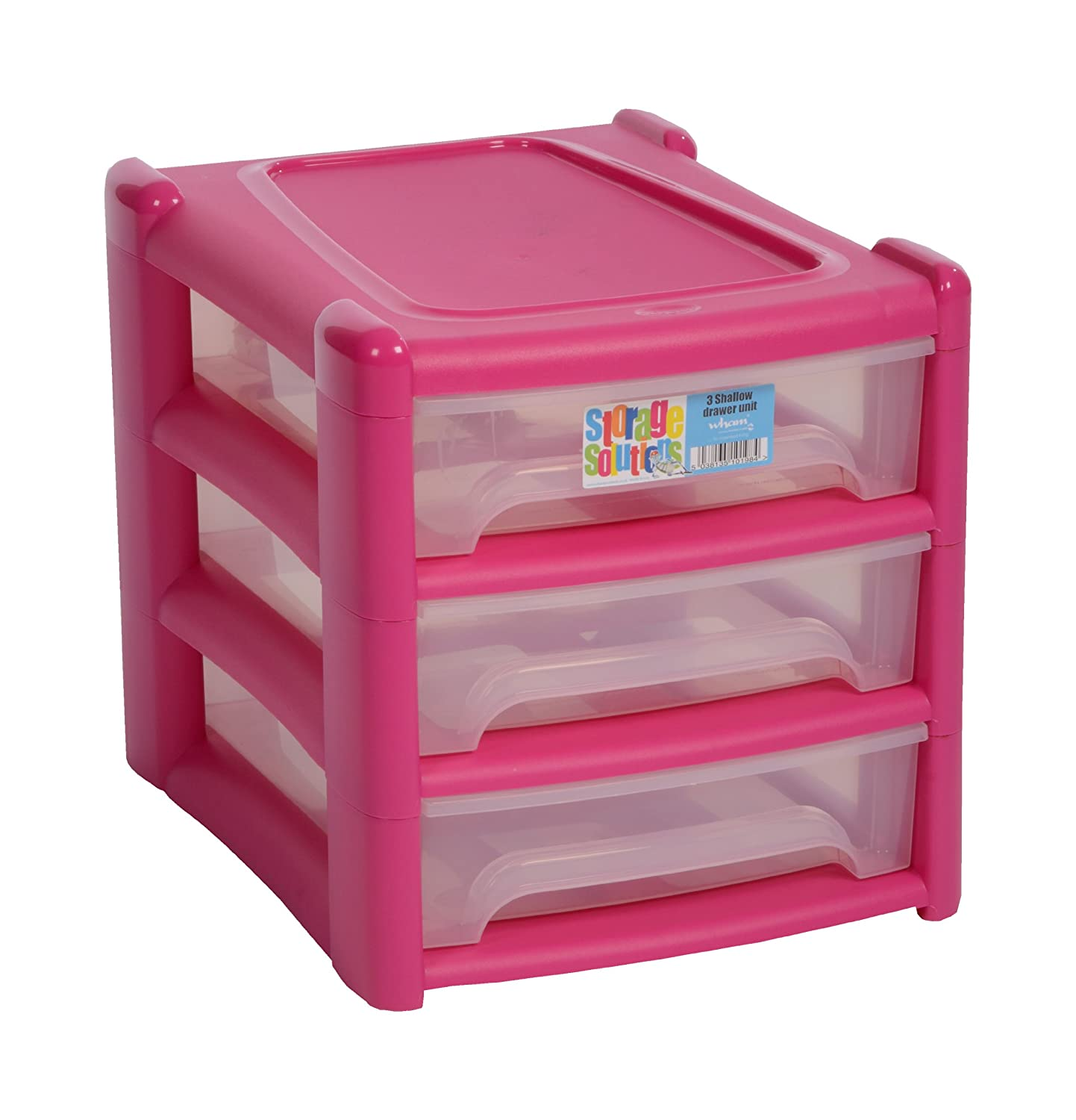 New A4 Shallow 3 Drawer Plastic Storage Unit  PINK  For Office / Bedroom /  Study /Kids Room: Amazon.co.uk: Lighting