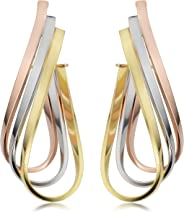 Kooljewelry 14k Tricolor Gold Triple Twisted Oval Hoop Earrings (1.5 inch long)