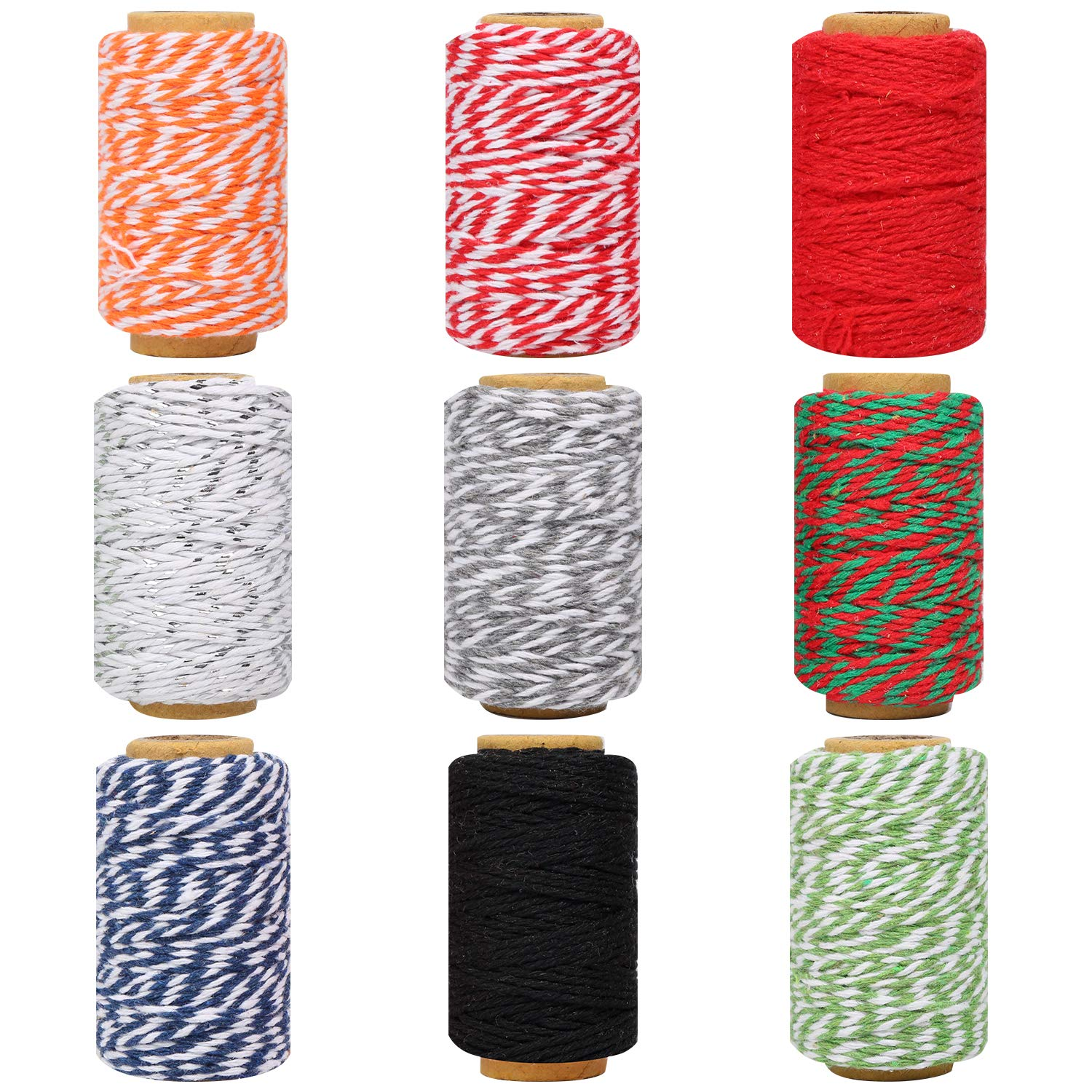 Maosifang 9 Rolls Christmas Twine Cotton 2 mm String Rope Cord for Gift Wrapping Arts Crafts Party Decorations Gardening Applications,9 Colors by Maosifang