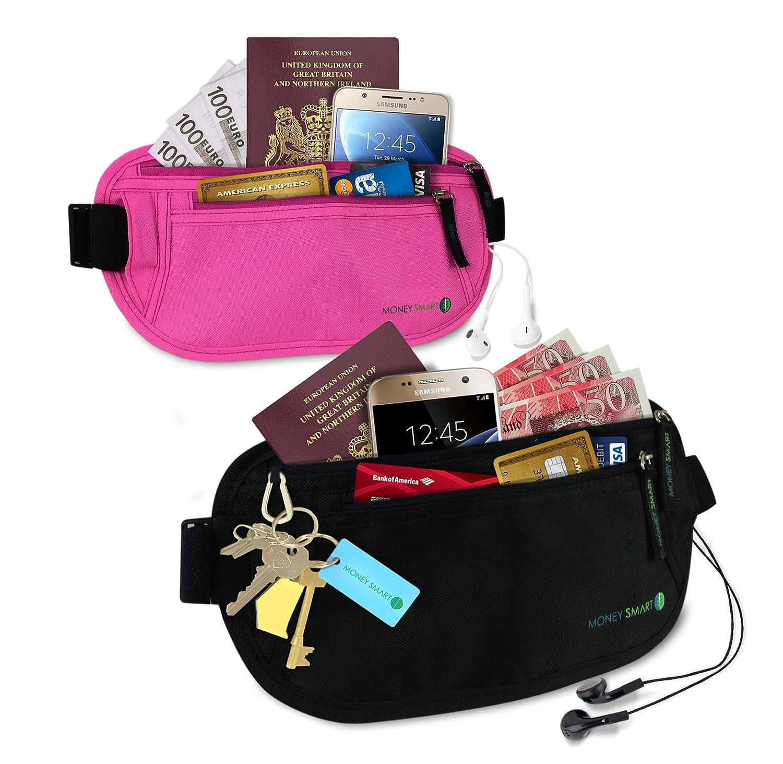 per Passaporto 2 Pezzi 1 Nero e 1 Rosa Money Smart Marsupio Portasoldi per Uomo /& Donna con Anti RFID di Sicurezza Cinture da Viaggio Carte e ID