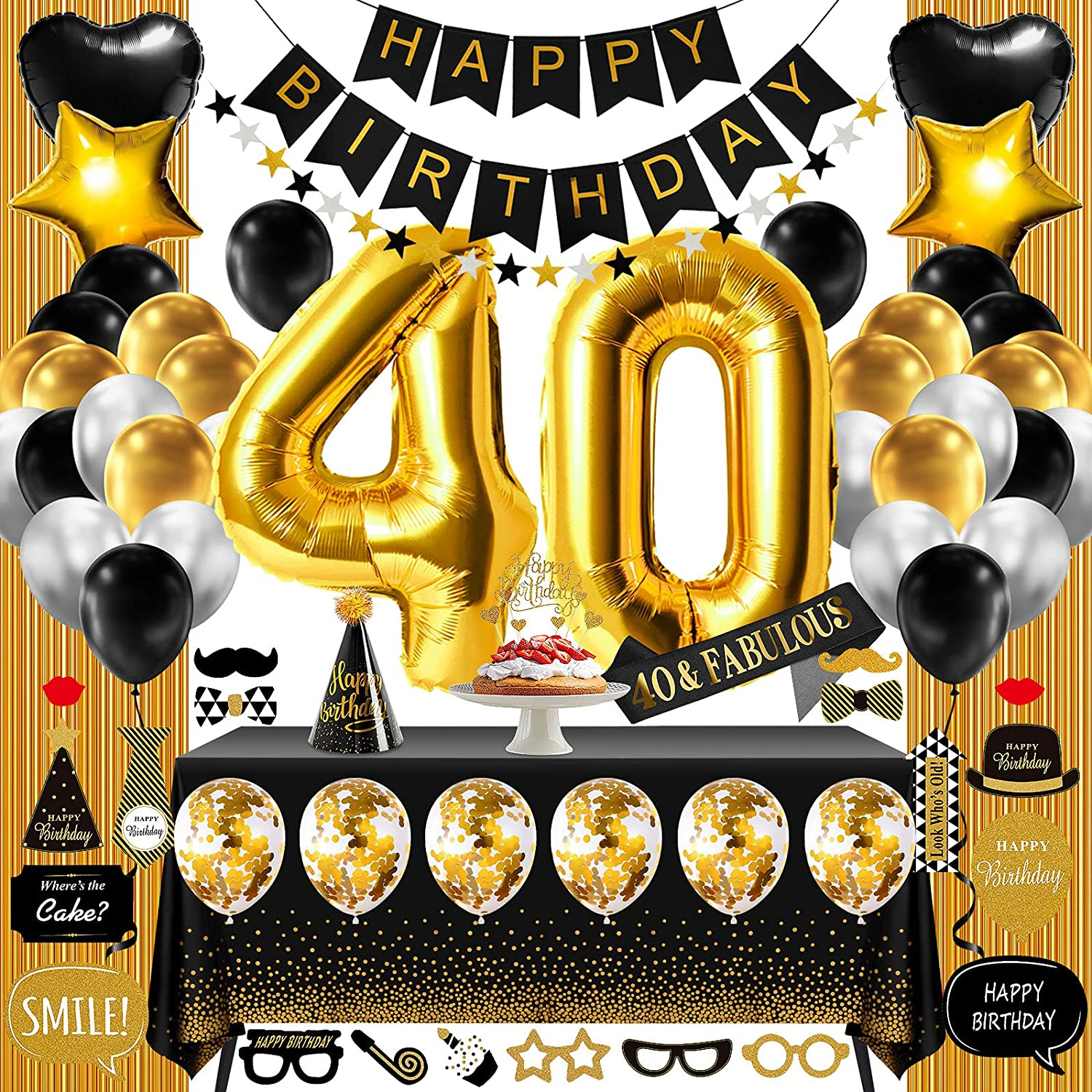 DaShan 10x10ft Black and Gold Stars Happy 40th Birthday Backdrop Cake Table Gold Glitter Confetti Women Lady Man Forty Birthday Photography Background Adults Birthday Party Decor Photo Props