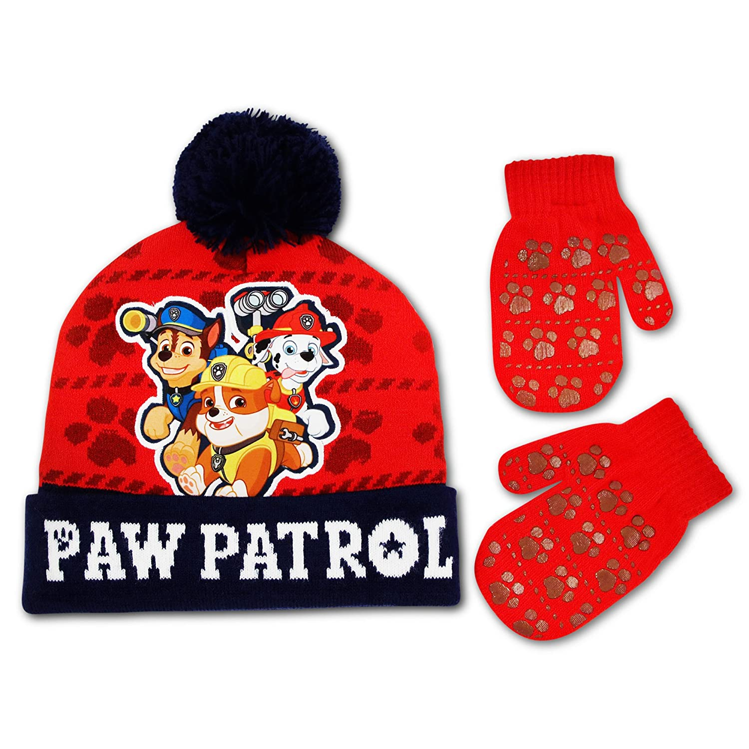 best loved 7654e fdd57 2-Piece cold weather set includes beanie hat and mittens featuring  Marshall, Chase and Rubble from Nickelodeon s Paw Patrol