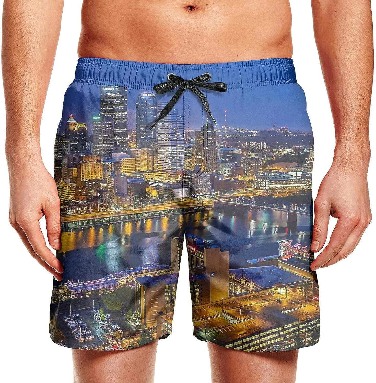 Fancy Young Men Beach Shorts Pittsburgh Pennsylvania Aerial View Waterproof Sporty Short Beach Shorts