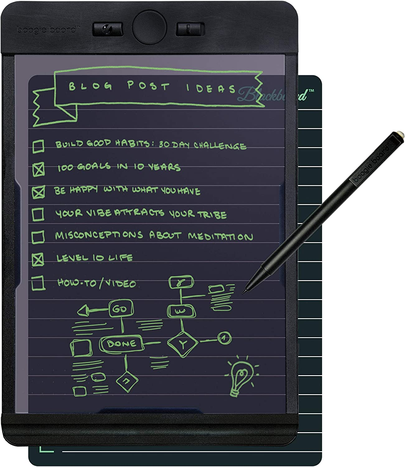 Boogie Board Writing Tablet | Learning Resources Homeschool Supplies Great for Note Taking Drawing Pad Feels Just Like Paper and Pencil | Blackboard Note 5.5x7.25