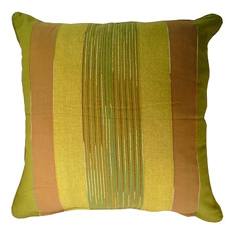 Comercio justo fundas de cojín a rayas indias tejidas a mano 60 x 60 cm (disponibles en 4 colores: rojo, verde, natural, turquesa), algodón, Verde, ...