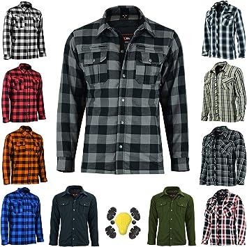 Vaster Camisa de motocicleta reforzada CE blindada para hombres y niños, protecciones extraíbles, 8 colores, todos los tamaños (gris, M)