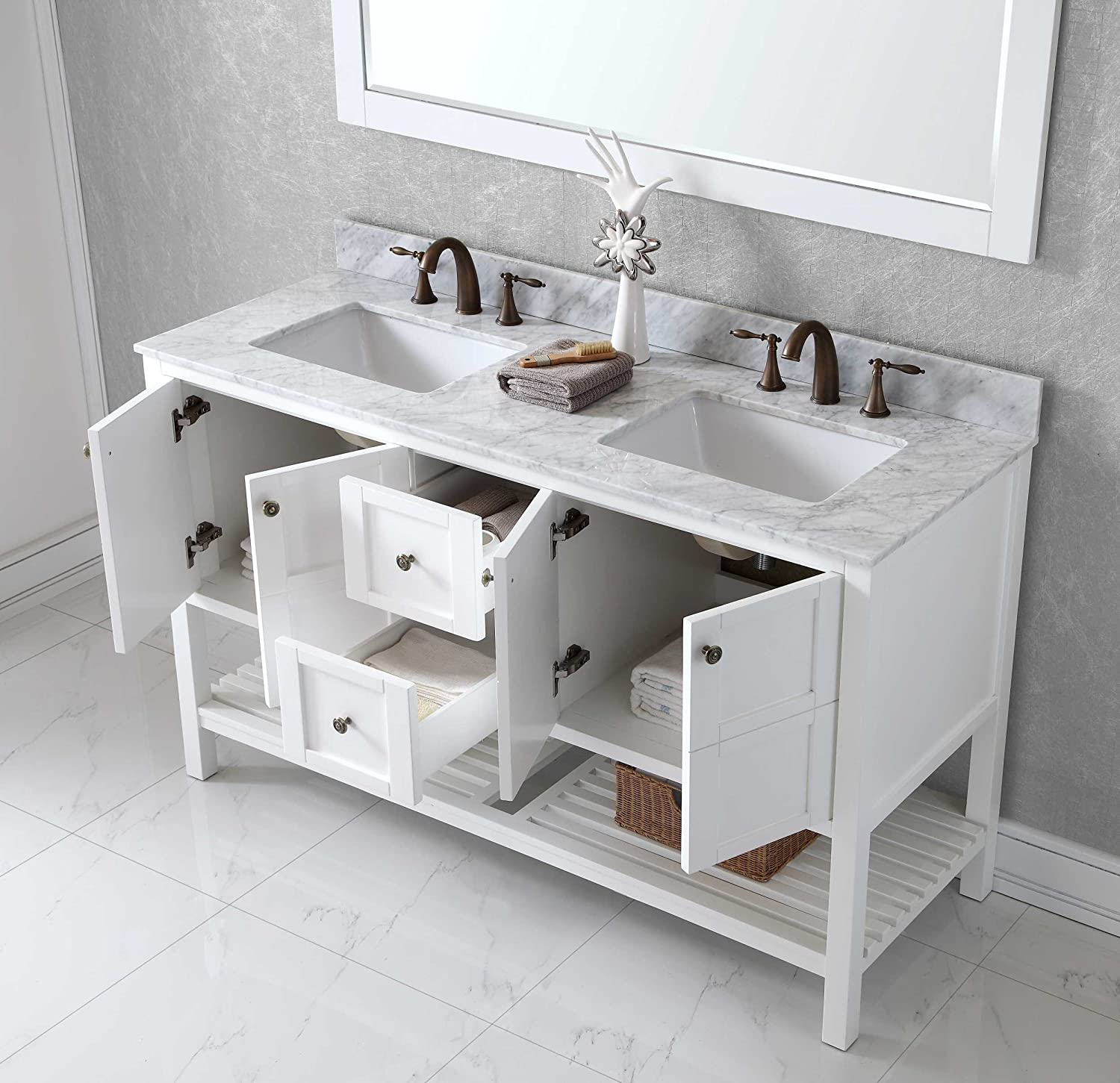 Virtu EDWMSQWH Winterfell Double Bathroom Vanity Cabinet - 54 vanity double sink