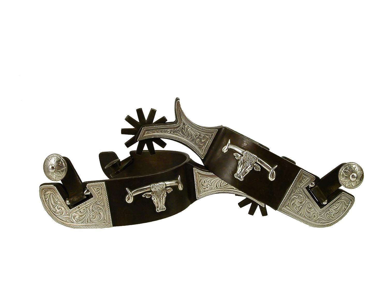 Equestrian Mens Steel Spur – 刻印シルバープレートシルバーLonghornブラウンfinish- byトムBalding馬タック   B07BBVBB2Q