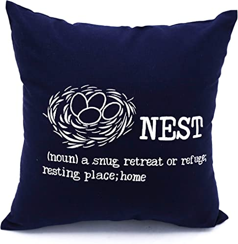KainKain Bird Nest Pillow Cover, Navy Blue White Embroidery Cotton Linen, Quote Square Cushion Cover, Natural Home Decor 26 inch x 26 inch