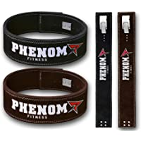 Phenom Powerlifting Belt Lever Buckle Cow Hide Leather 10mm Single Prong Weight Lifting Crossfit Workout Gym Fitness Exercise Bodybuilding