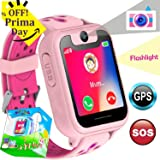 Kid Smart Watch GPS Tracker Wrist Phone Game Watch for Kids Child Boys Girls SOS anti-lost Alarm Remote Monitor with SIM Card Compatible for iOS Android Touch Screen Birthday Gifts (Pink)