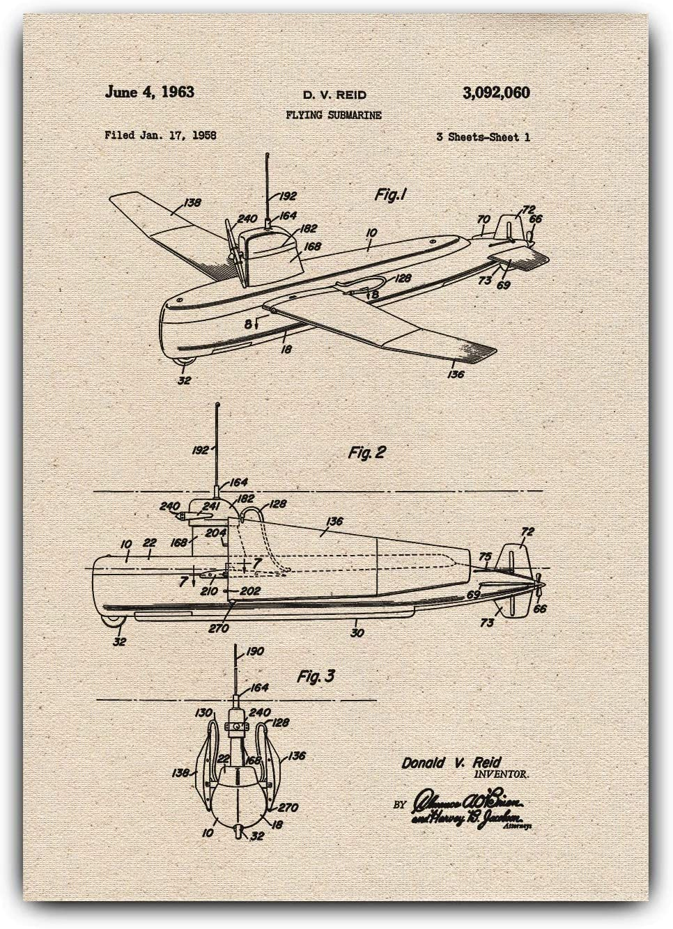 Greta Oto Flying Submarine Drawings Patent, Print on Canvas - Home Office Decor, Wall Hanging Vintage Prints, Flying-submarine-001 (A3-11.7 x 16.5 inch)
