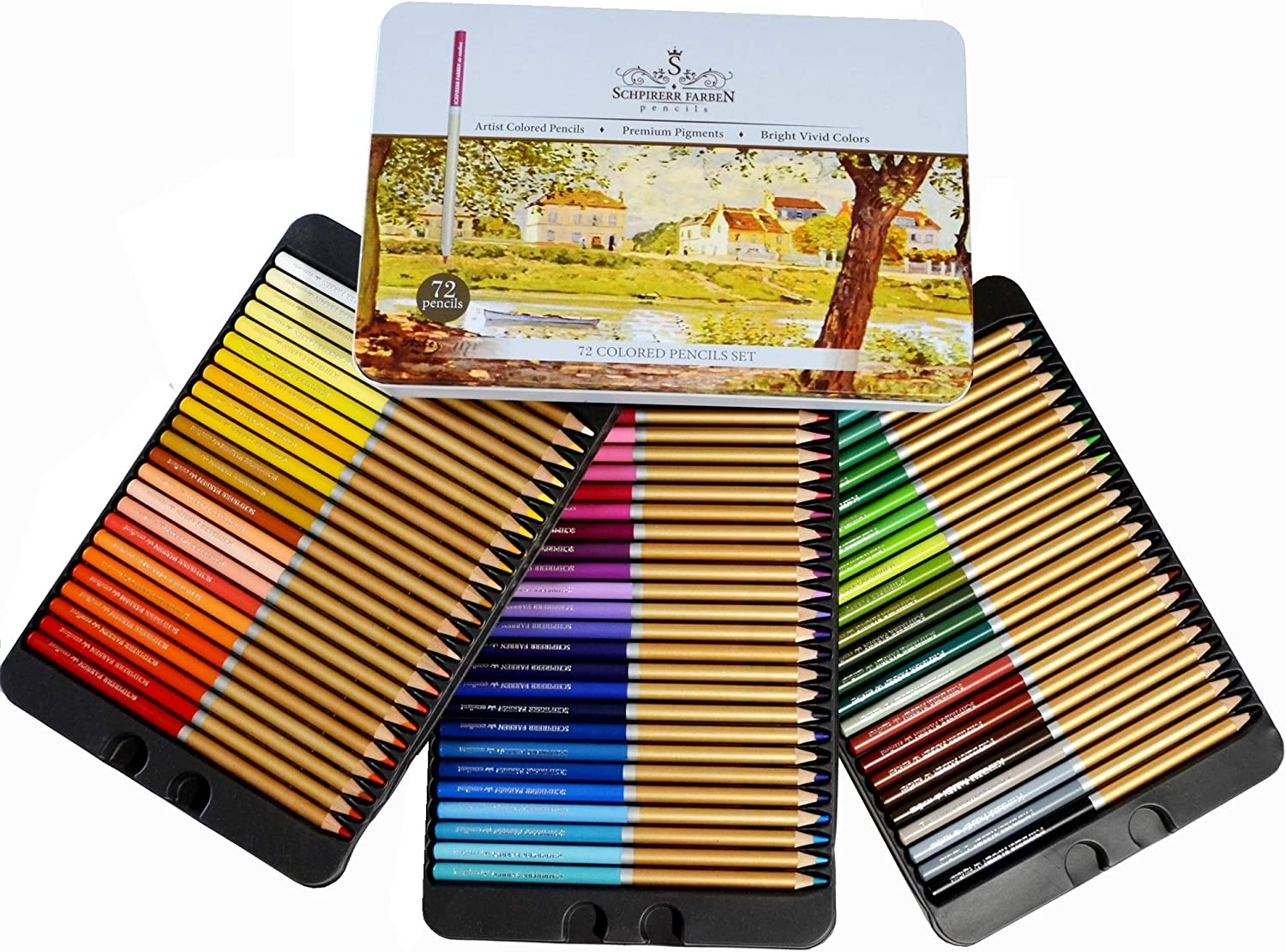 Professional Premium numbered 72 Colored Pencils Set Schpirerr Farben – Oil Based Soft Core, Ideal For Adults
