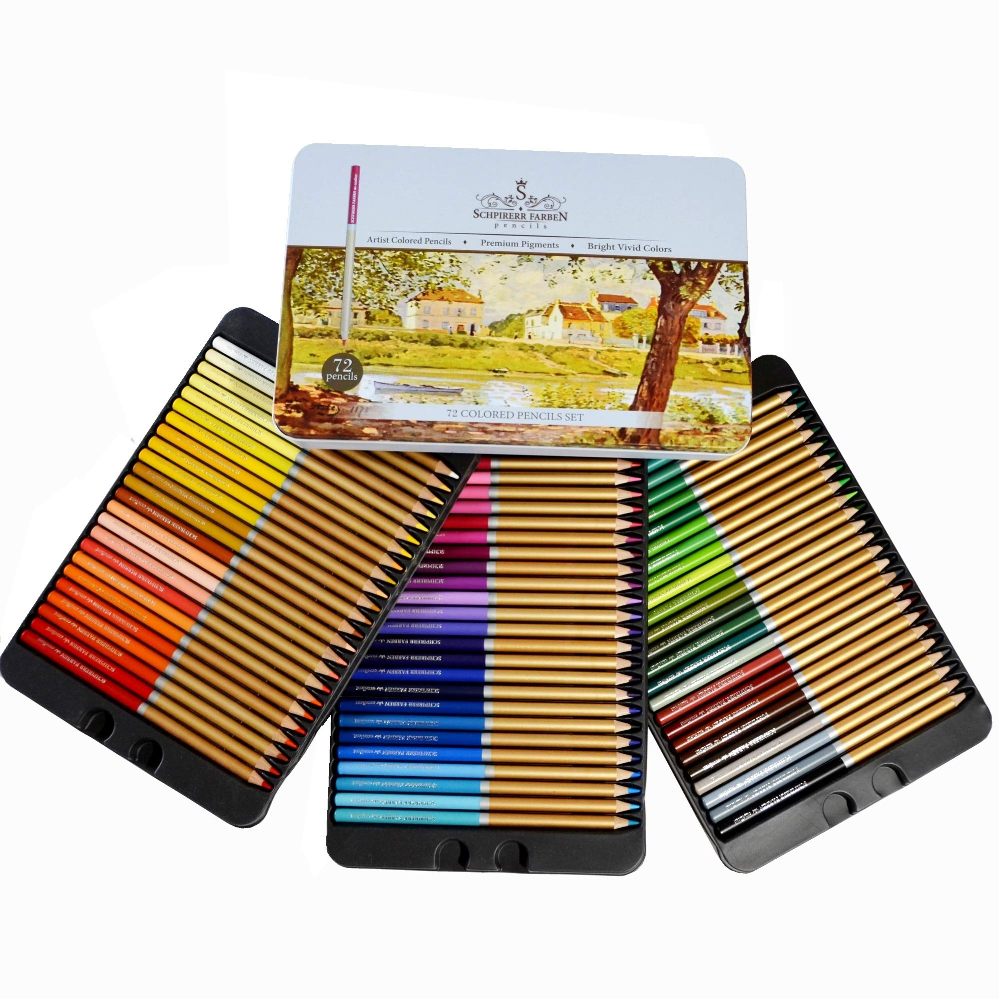 Professional Premium numbered 72 Colored Pencils Set Schpirerr Farben - Oil Based Soft Core, Ideal For Adults, Artists, Sketchers & Children - Coloring Sketching & Doodling by GOODYISM