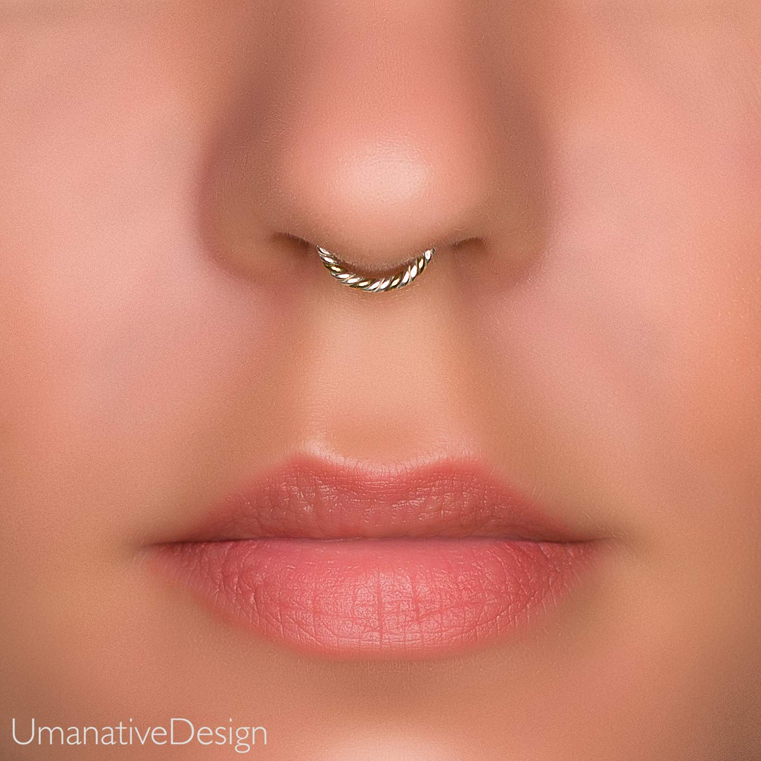 Sterling Silver Fake Septum Ring Hoop Fake Small Nose Ring Silver Body Jewelry